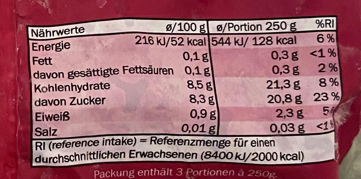 Sauerkirschen erntefrisch tiefgefroren - Voedingswaarden - de