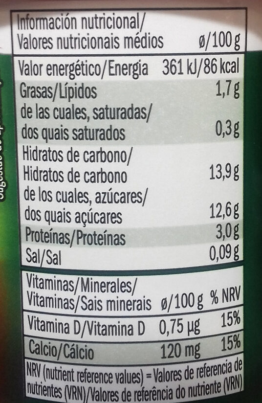Soja (fresa) - Nutrition facts - es