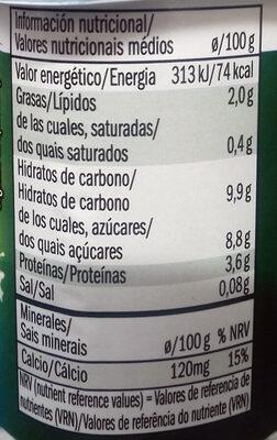 Yogurt natural de soja - Voedingswaarden - es