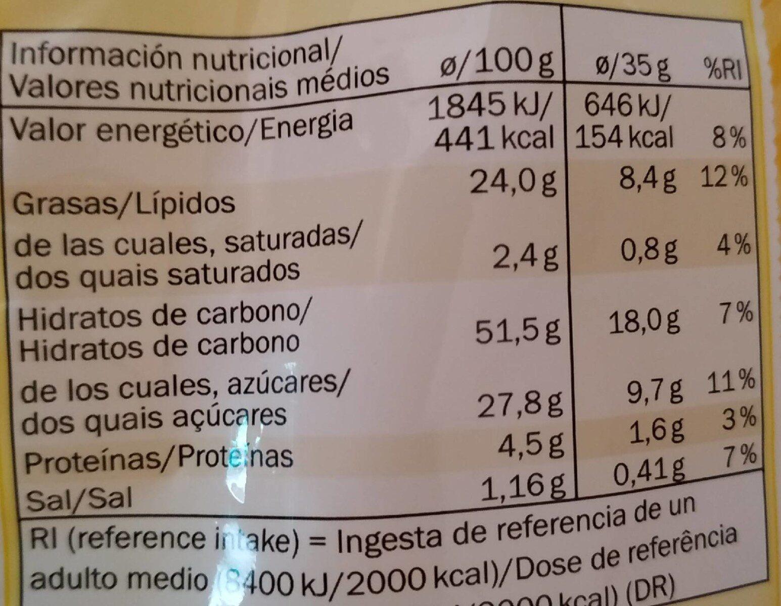 Bizcochos de limón - Informació nutricional - es