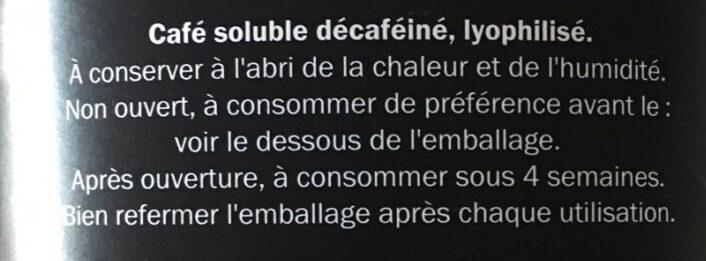 Café soluble décaféiné - Ingrédients