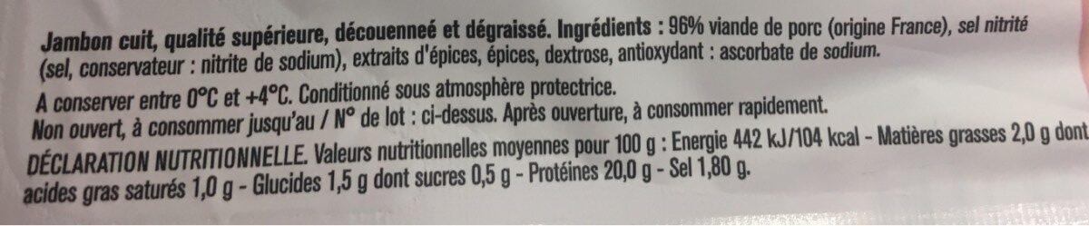 Le jambon superieur - Ingredients
