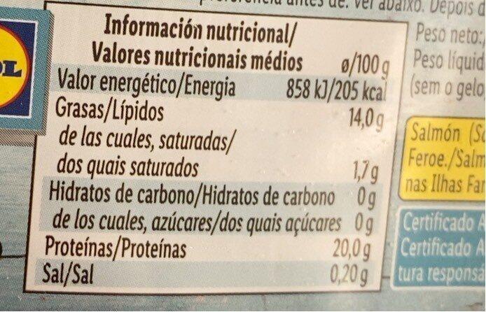 Filet de saumon sans peau - Nutrition facts - fr