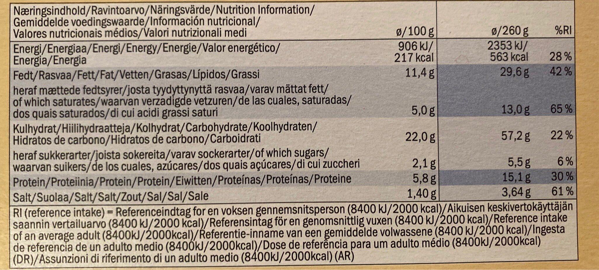 Flammkuchen mit Gemüse und Emmentaler - Nutrition facts - en