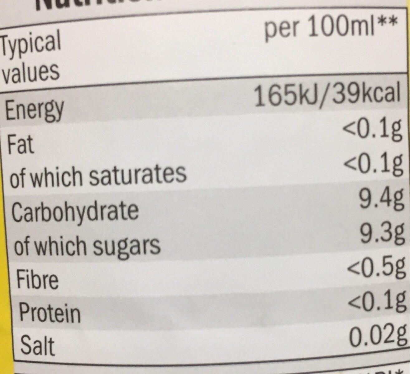 Lemon tea - Nutrition facts - en
