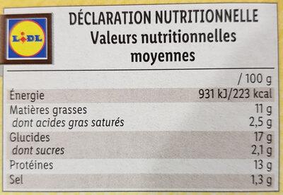 Cordons bleus de poulet - Nutrition facts - fr