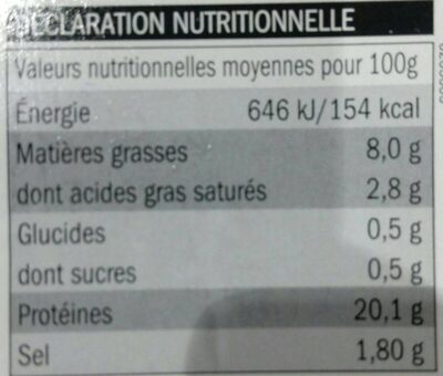 Jambon Supérieur - Voedingswaarden