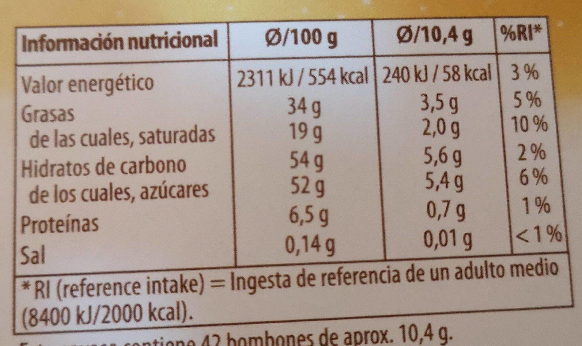 Favorina chocolates de fete - Información nutricional