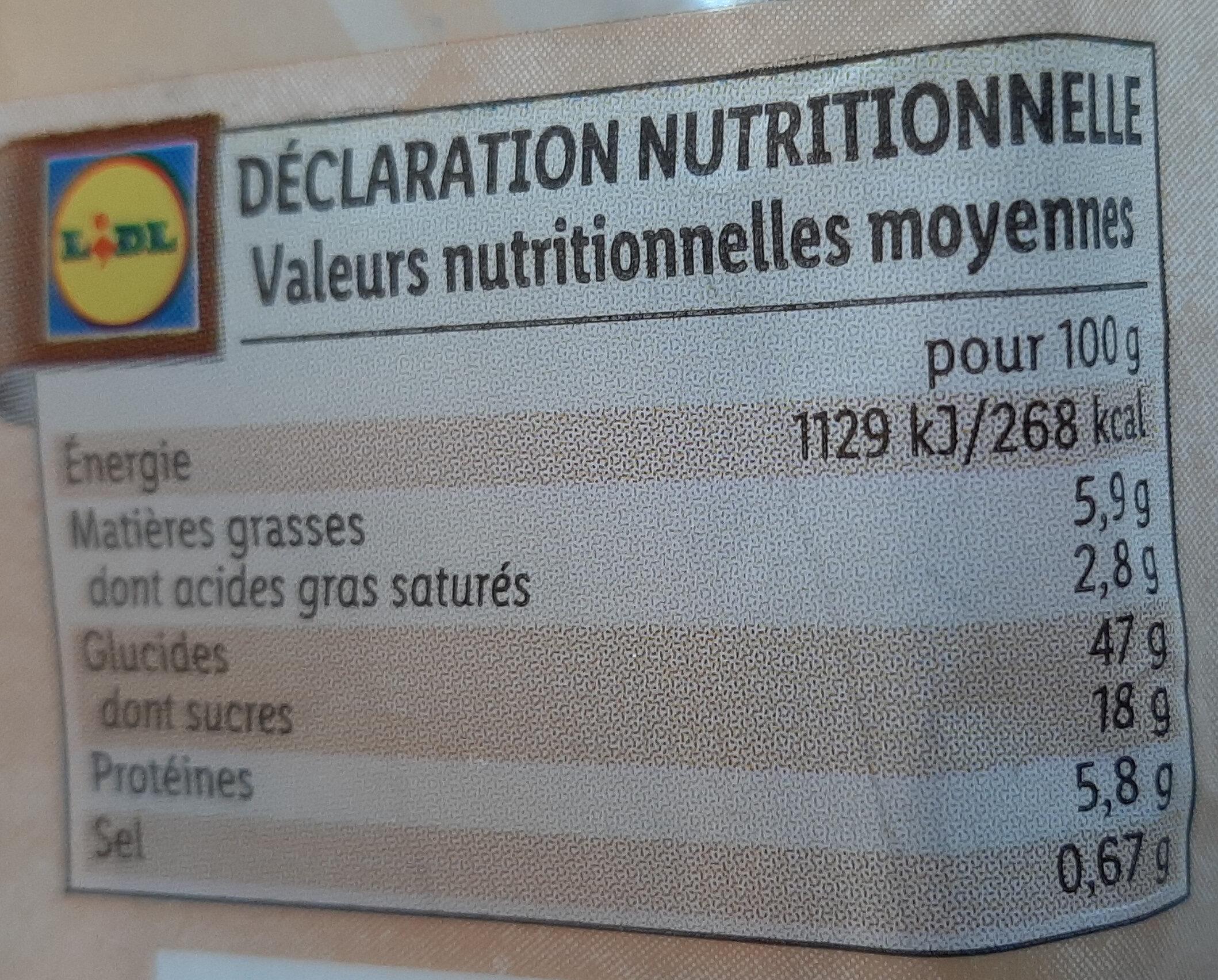 Chinois crème patissière - Informations nutritionnelles - fr