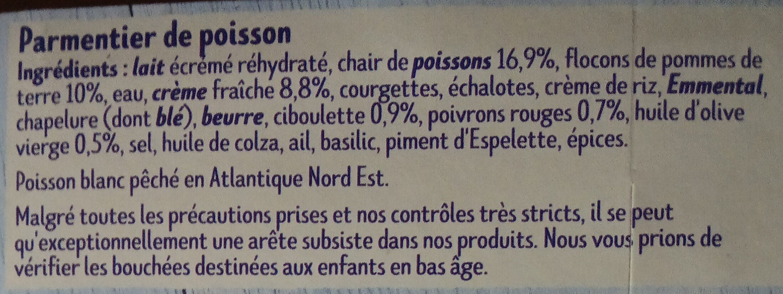 Parmentier de poisson à la ciboulette - Ingrédients