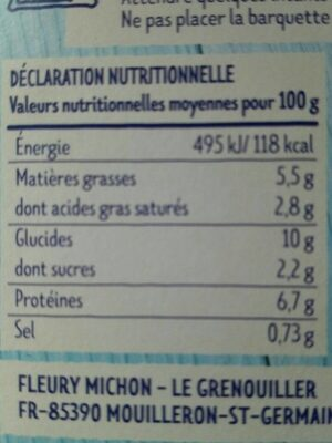 Parmentier de poisson à la ciboulette - Informations nutritionnelles