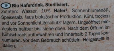 Bio Hafer Drink - Zutaten - de