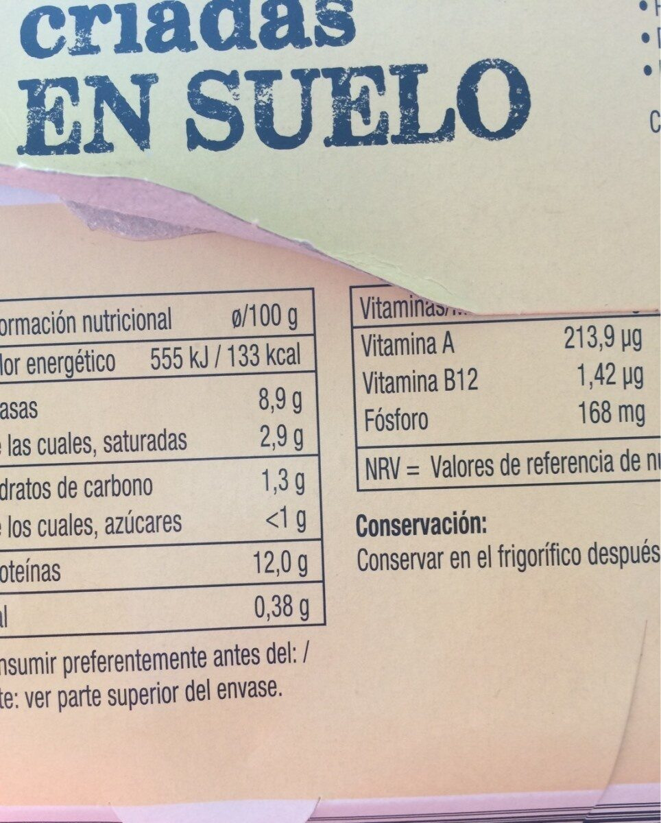 12 huevos frescos de gallinas - Nutrition facts