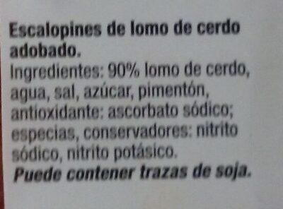 Lomo adobado de cerdo - Ingrédients - es