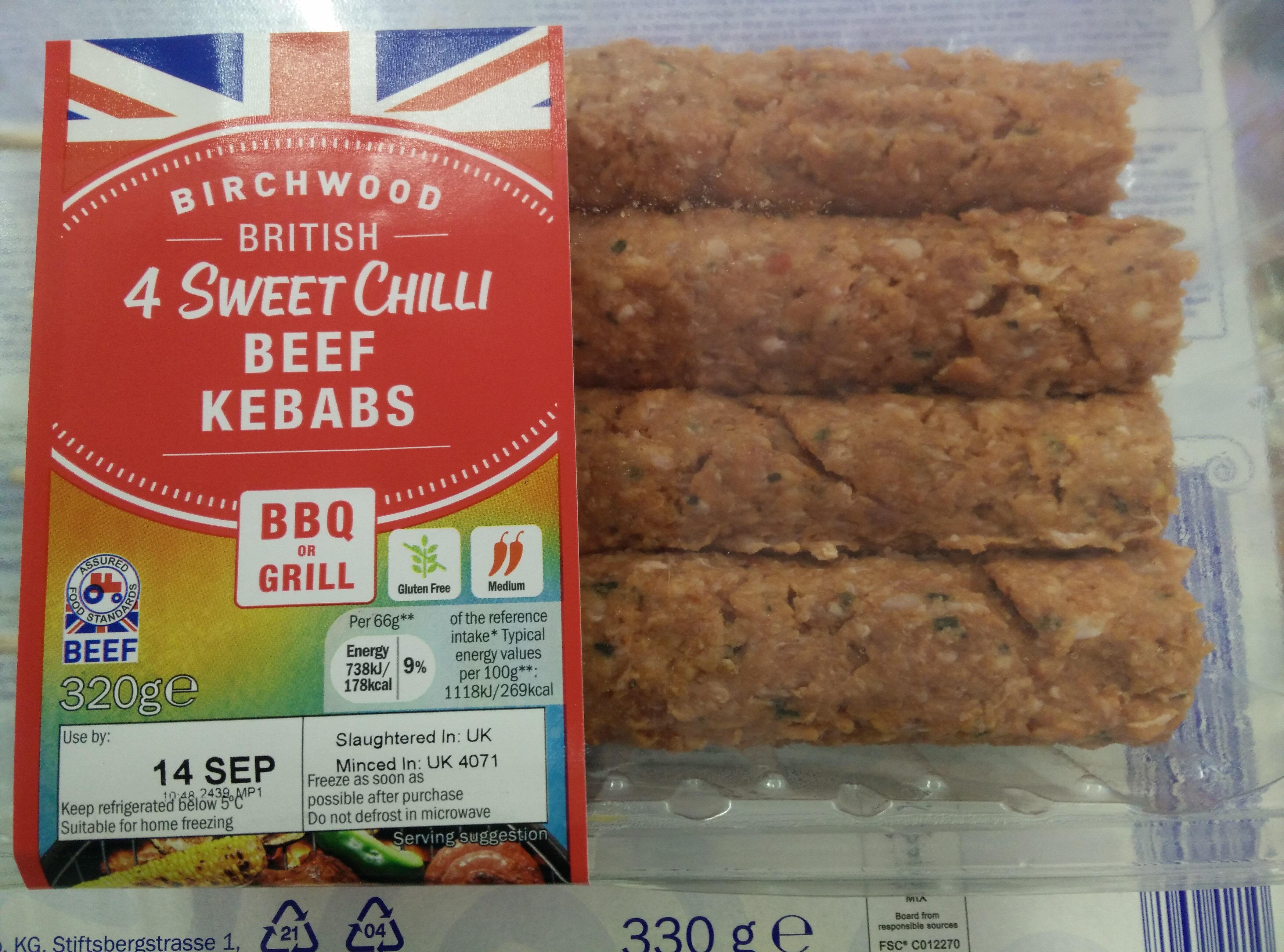 Sweet chilli beef kebabs - Produit - en