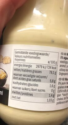 Mayonnaise a la truffe - Nutrition facts - fr