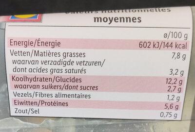 Duo de boudins avec purée et compote - Informations nutritionnelles - fr