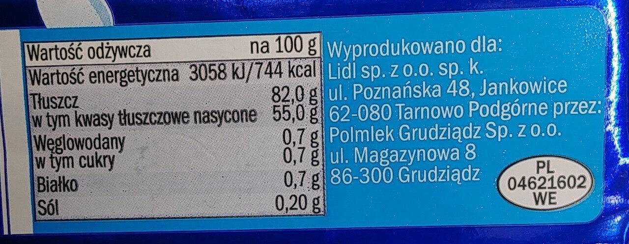 Masło ekstra - Wartości odżywcze - pl