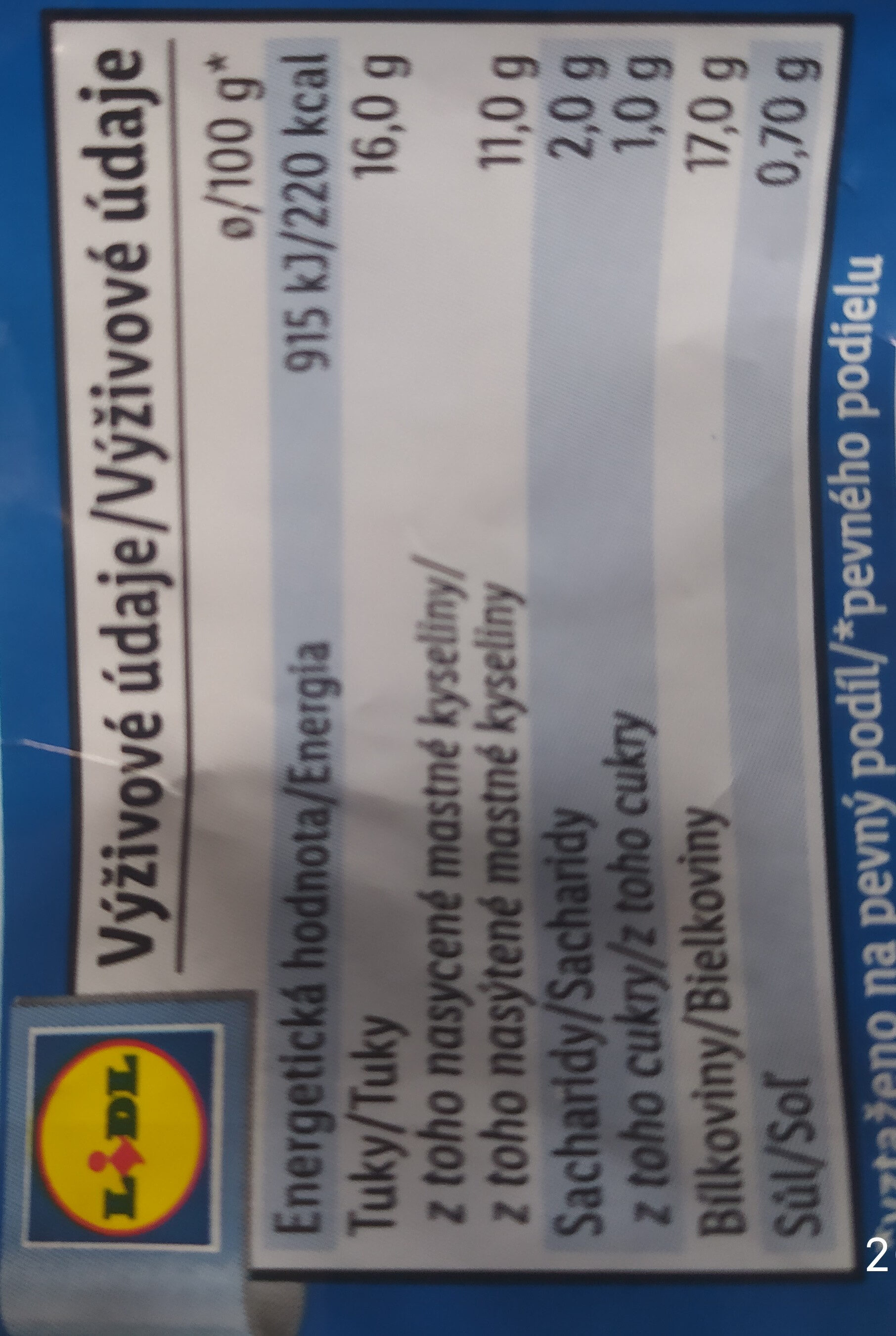 Lovilio Mozzarella - Informations nutritionnelles - cs