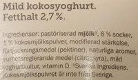 Ängens mild svensk Yoghurt Kokos - Ingrédients - sv