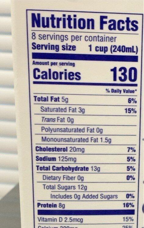 Lactose Free 2% Reduced Fat Milk - Voedingswaarden - en