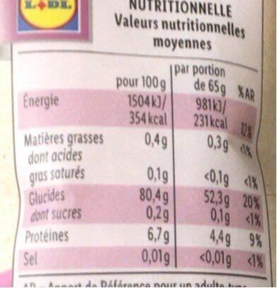Riz basmati bio - Nutrition facts - en