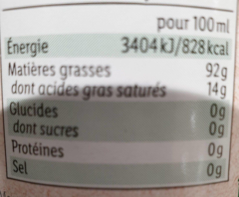 Huile d'olive vierge extra origine Espagne extraite à froid bio - Valori nutrizionali - fr