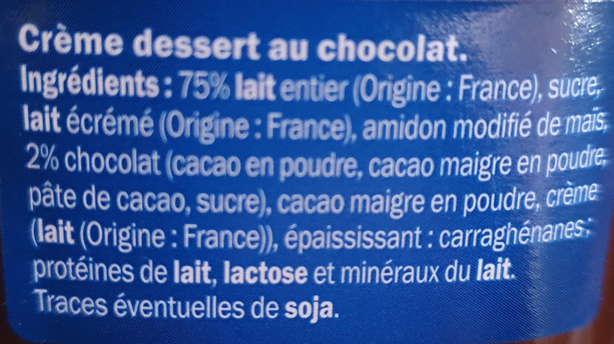 Crème dessert chocolat - Ingrédients - fr