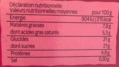 Cheescake framboise - Informations nutritionnelles - fr