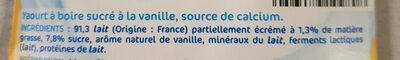 Les Milbo'z à boire vanille - Ingrediënten - fr