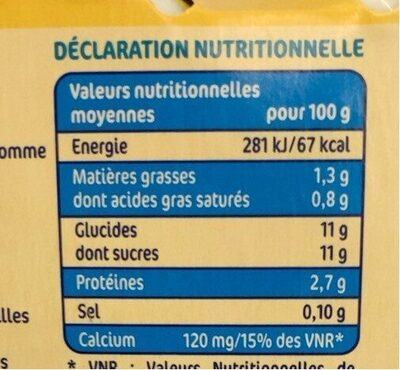 Les Milbo'z à boire vanille - Voedingswaarden - fr