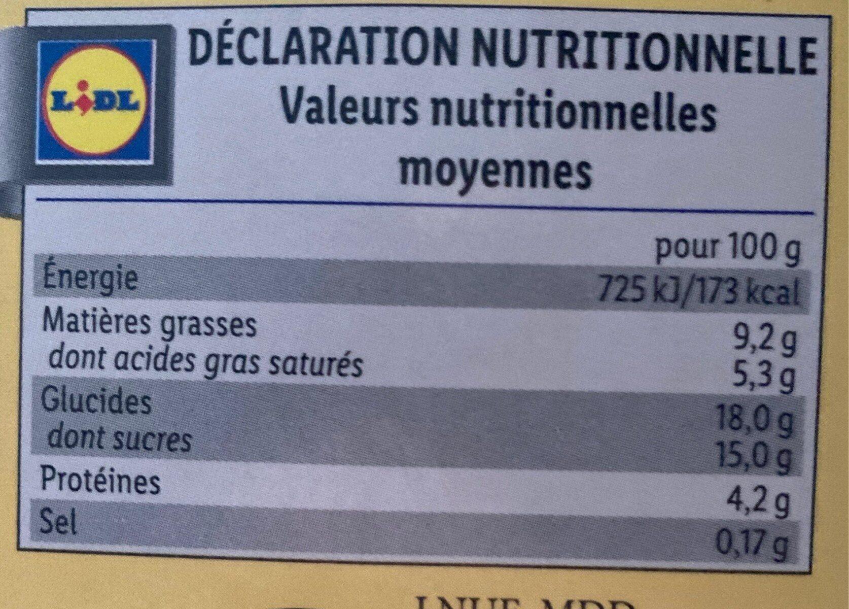 Petit pot de crème - Saveur Vanille - Informations nutritionnelles - fr