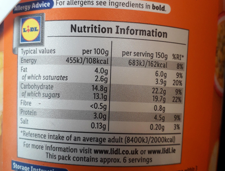 Creamy Peach & Passion Fruit Yogurt - Informação nutricional - en