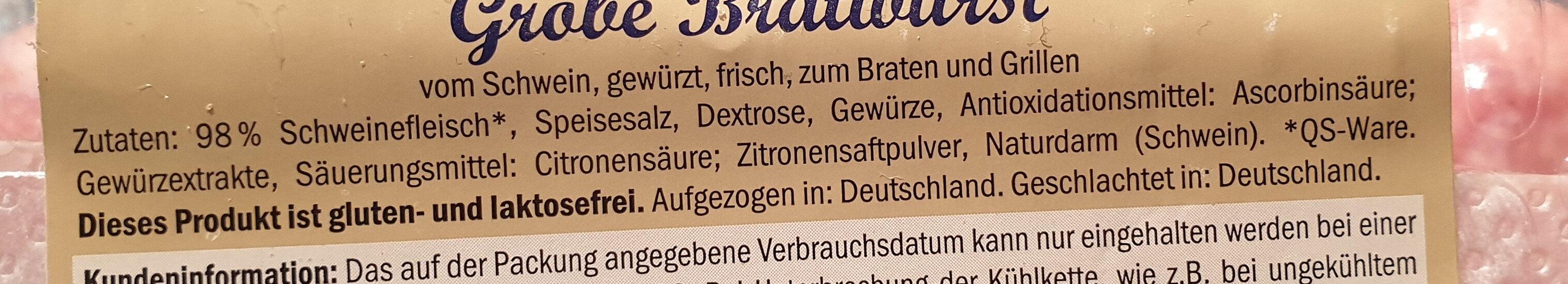Grobe Bratwurst / Saucisses - Ingrediënten - de