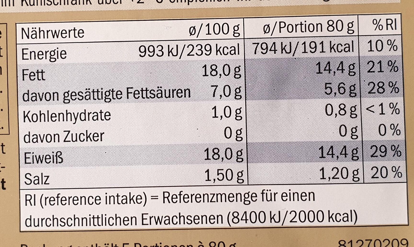 Grobe Bratwurst / Saucisses - Voedingswaarden - de
