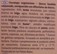 Escalope panado vegetariano - Ingredientes - es