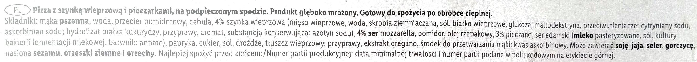 Pizza Familijna z szynką i pieczarkami - Składniki - pl