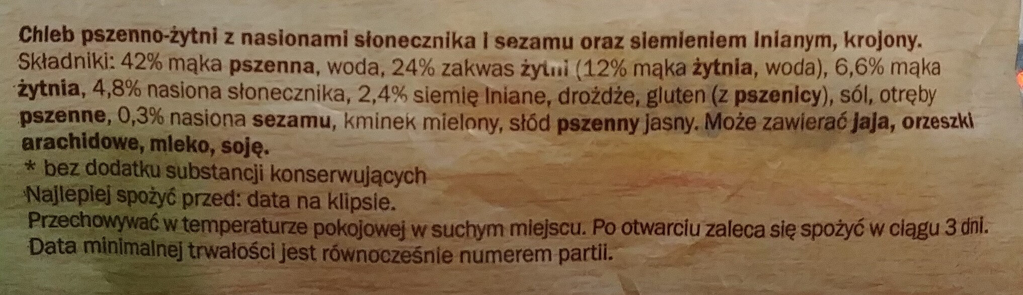 Chleb pszenno-żytni z nasionami słonecznika i sezamu oraz siemieniem lnianym. - Ingrédients - pl