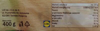 Chleb pszenno-żytni z nasionami słonecznika i sezamu oraz siemieniem lnianym. - Informations nutritionnelles - pl
