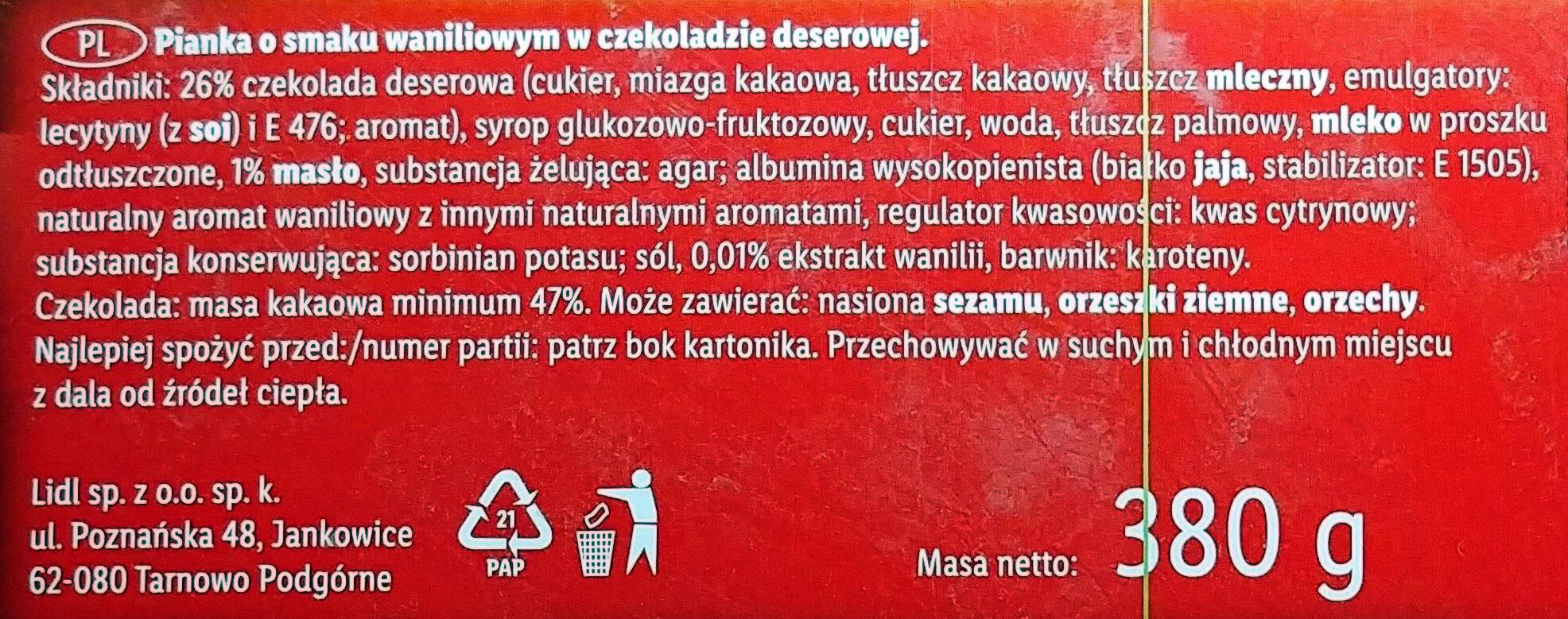 Pianka o smaku waniliowym w czekoladzie deserowej - Składniki - pl