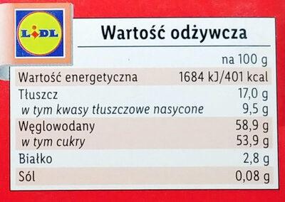 Pianka o smaku waniliowym w czekoladzie deserowej - Wartości odżywcze - pl