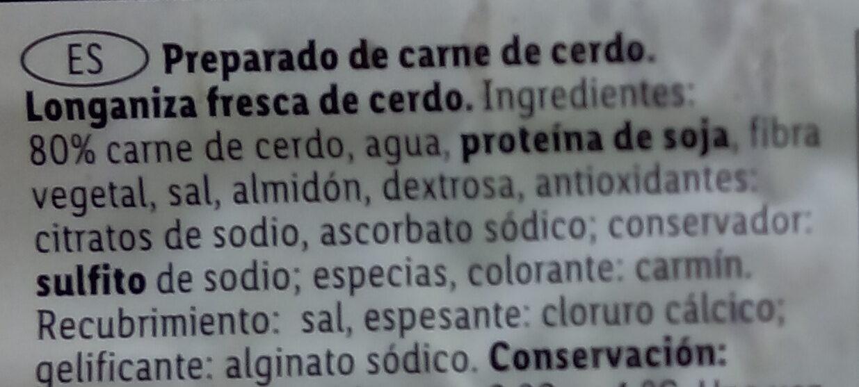 Longaniza fresca sin tripa - Ingrédients - es