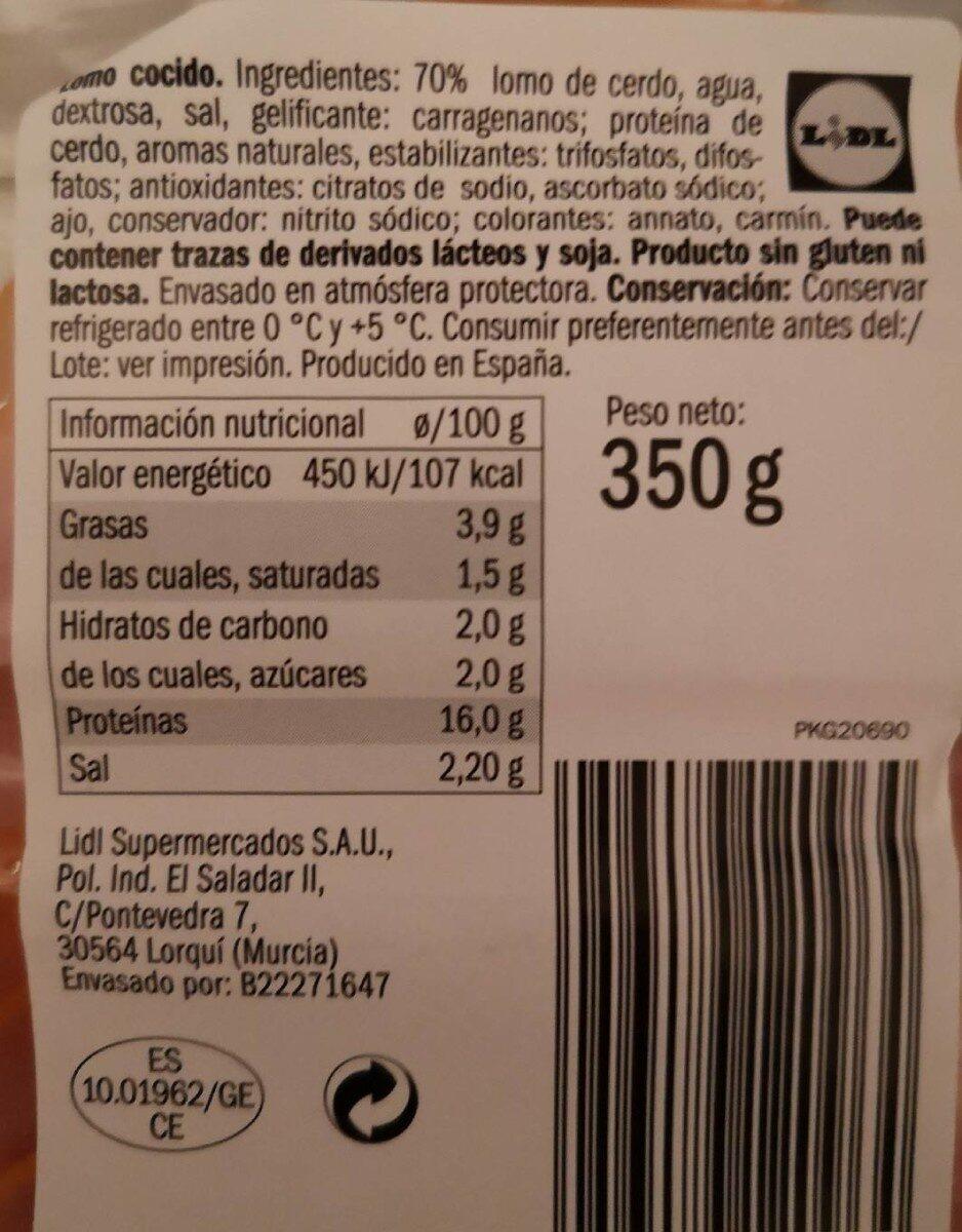 Maxi Lomo Finas lonchas - Voedingswaarden - es