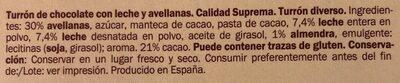 Turrón chocolate con leche avellanas - Ingrédients - es