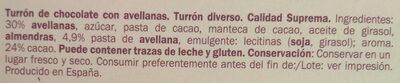 Turrón chocolate negro avellanas - Ingrédients