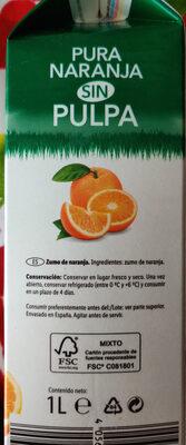 Zumo Naranja sin pulpa - Ingredientes