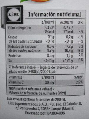 Zumo Naranja sin pulpa - Información nutricional