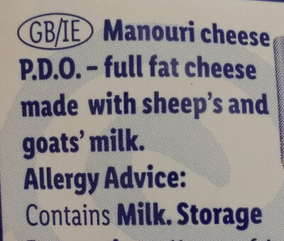Manouri cheese - Ingrediënten - en