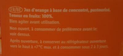 100% jus d'orange à base de concentré - Ingrediënten - fr
