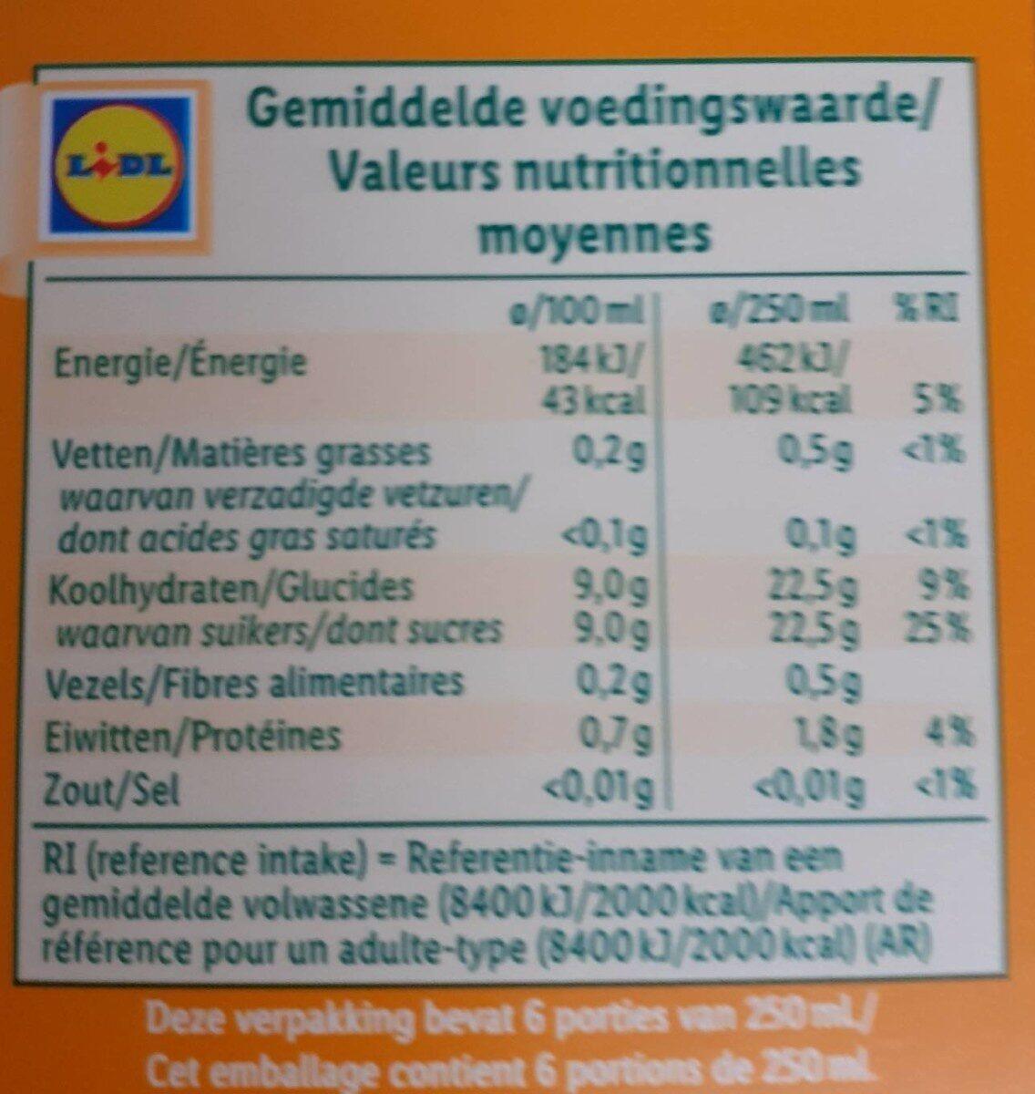 100% jus d'orange à base de concentré - Voedingswaarden - fr